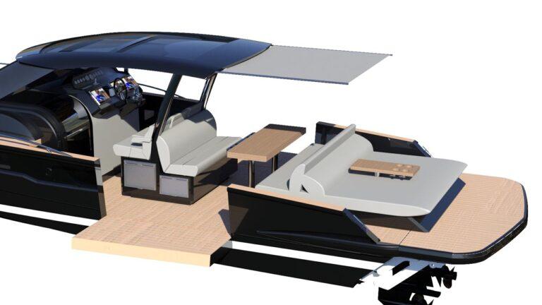 boat sunbed, dutch tender boat