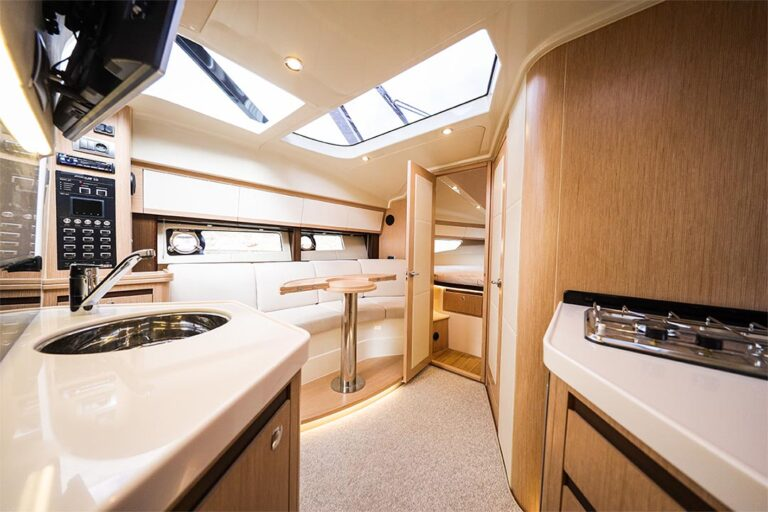 boat interior with kitchen and cooker