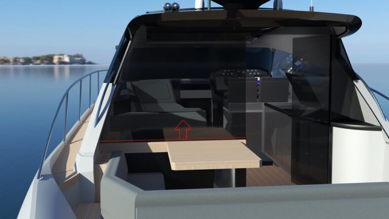 creative glass door on yacht